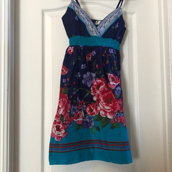flying tomato Dresses & Skirts - Blue and multicolored summer dress with flowers